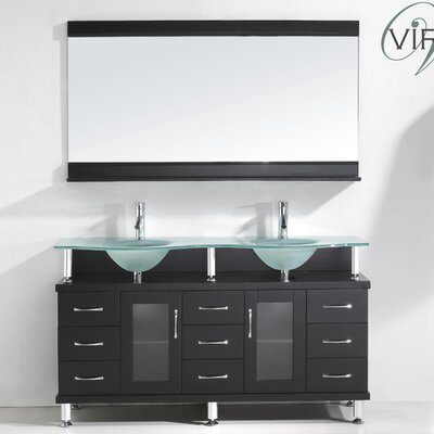 Rocco 61 Double Bathroom Vanity Set with Frosted Tempered Glass Top and Mirror Base Finish: Espresso, Faucet Finish: Polished Chrome