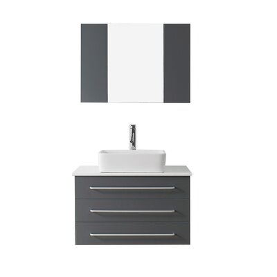 Canadice 36 Single Bathroom Vanity Set with White Stone Top and Mirror Base Finish: Gray, Faucet Finish: Polished Chrome