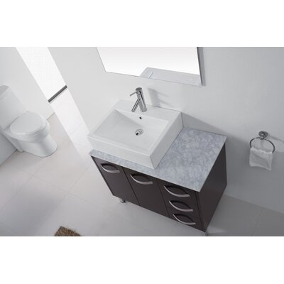Ultra Modern Series 37 Single Bathroom Vanity Set with White Marble Top and Mirror Base Finish: Espresso, Faucet Finish: Polished Chrome