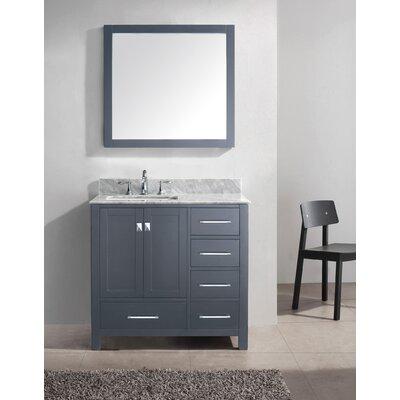 Caroline Avenue 37 Single Bathroom Vanity Set with Mirror Base Finish: Grey