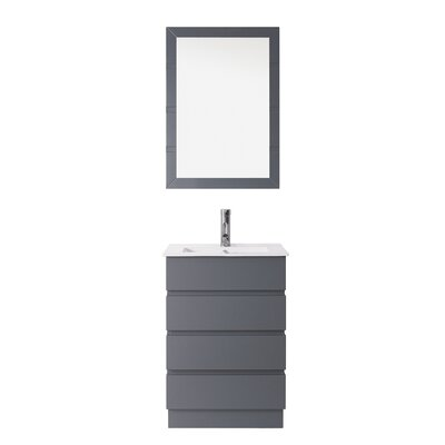Bruno 24 Single Contemporary Bathroom Vanity Set with Ceramic Top and Mirror Base Finish: Gray, Faucet Finish: Polished Chrome