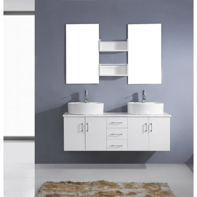 Camren 59 Double Bathroom Vanity Set with White Top and Mirror Base Finish: White, Faucet Finish: Polished Chrome
