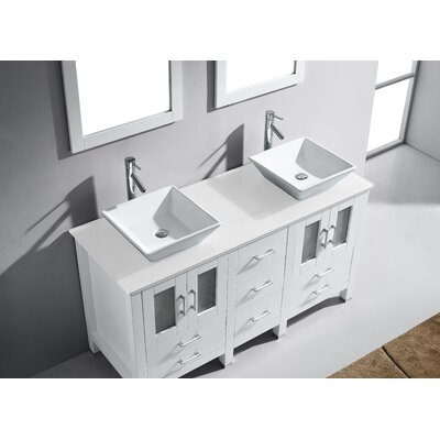 Rusch 60 Double Bathroom Vanity Set with White Stone Top and Mirror Base Finish: White, Faucet Finish: Polished Chrome