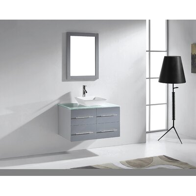 Ultra Modern 35 Single Bathroom Vanity Set with Tempered Glass Top and Mirror Base Finish: Gray, Faucet Finish: Polished Chrome