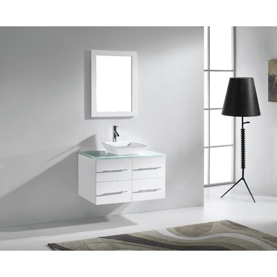 Ultra Modern 35 Single Bathroom Vanity Set with Tempered Glass Top and Mirror Base Finish: White, Faucet Finish: Polished Chrome