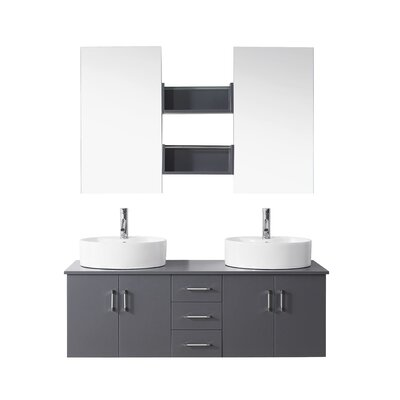 Camren 59 Double Bathroom Vanity Set with White Top and Mirror Base Finish: Gray, Faucet Finish: Brushed Nickel