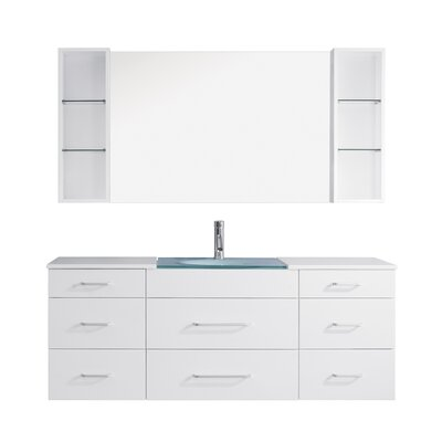Colombo 63 Single Bathroom Vanity Set with Tempered Glass Top and Mirror Base Finish: White, Faucet Finish: Brushed Nickel