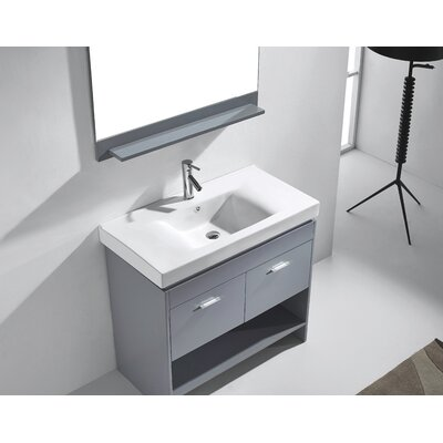 Frausto 35 Single Bathroom Vanity Set with Ceramic Top and Mirror Base Finish: Gray, Faucet Finish: Polished Chrome