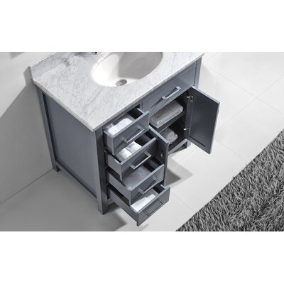 Stoughton 37 Single Bathroom Vanity Set with Carrara White Top and Mirror Base Finish: Gray, Sink Shape: Square, Faucet Finish: Polished Chrome