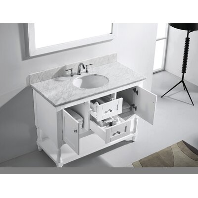 Julianna 49 Single Bathroom Vanity Set with White Marble Top and Mirror Base Finish: White, Sink Shape: Round, Faucet Finish: No Faucet