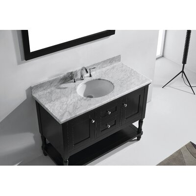 Julianna 49 Single Bathroom Vanity Set with White Marble Top and Mirror Base Finish: Espresso, Sink Shape: Round, Faucet Finish: No Faucet