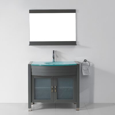 Vina 35 Single Bathroom Vanity Set with Tempered Glass Top and Mirror Base Finish: Gray, Faucet Finish: Polished Chrome