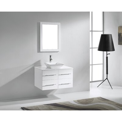 Decastro 35 Single Bathroom Vanity Set with White Stone Top and Mirror Base Finish: White, Faucet Finish: Polished Chrome