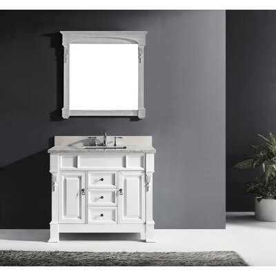 Huntshire 40 Single Bathroom Vanity Set with Mirror Base Finish: White