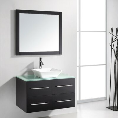 Ultra Modern 35 Single Bathroom Vanity Set with Tempered Glass Top and Mirror Base Finish: Espresso, Faucet Finish: Polished Chrome