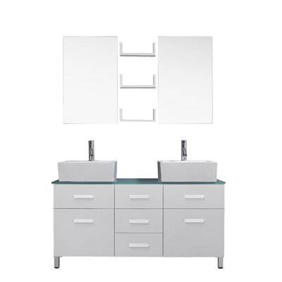 Ultra Modern Series 56 Double Bathroom Vanity Set with Tempered Glass Top and Mirror Base Finish: White, Faucet Finish: Polished Chrome