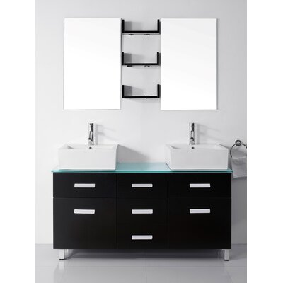 Ultra Modern Series 56 Double Bathroom Vanity Set with Tempered Glass Top and Mirror Base Finish: Espresso, Faucet Finish: Polished Chrome