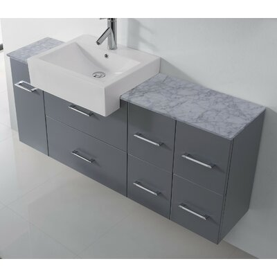 Ultra Modern Series 60 Single Bathroom Vanity Set with White Marble Top and Mirror Base Finish: Gray