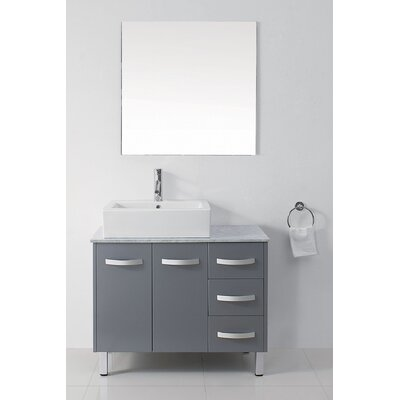 Ultra Modern Series 37 Single Bathroom Vanity Set with White Marble Top and Mirror Base Finish: Gray, Faucet Finish: Polished Chrome