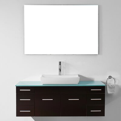 Biagio 56 Single Bathroom Vanity Set with Tempered Glass Top and Mirror Base Finish: Espresso, Faucet Finish: Brushed Nickel