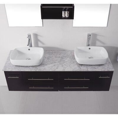 Ultra Modern Series 60 Double Bathroom Vanity Set with White Marble Top and Mirror Base Finish: Espresso, Faucet Finish: Polished Chrome