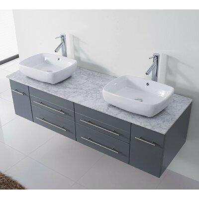 Ultra Modern Series 60 Double Bathroom Vanity Set with White Marble Top and Mirror Base Finish: Gray, Faucet Finish: Polished Chrome