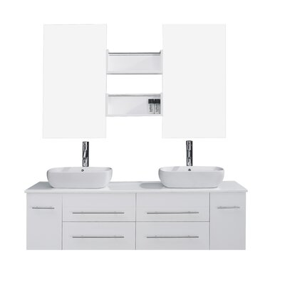 Ultra Modern Series 60 Double Bathroom Vanity Set with White Marble Top and Mirror Base Finish: White, Faucet Finish: Brushed Nickel