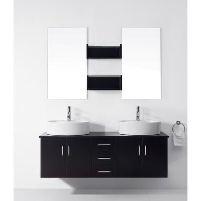 Camren 59 Double Bathroom Vanity Set with White Top and Mirror Base Finish: Espresso, Faucet Finish: Polished Chrome