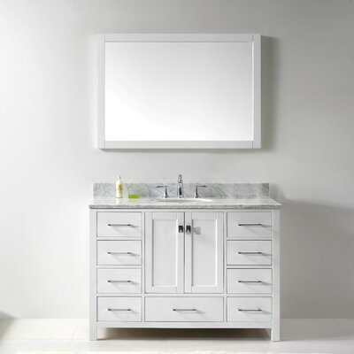 Stoneham 48 Single Bathroom Vanity Set with Carrara White Top and Mirror Base Finish: White, Sink Shape: Round, Faucet Finish: Brushed Nickel