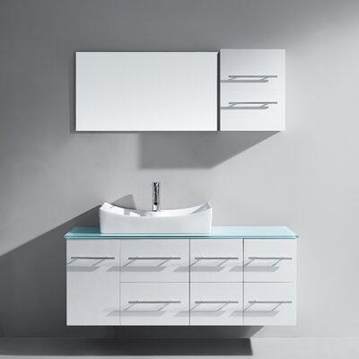 Marsala 55 Single Bathroom Vanity Set with Tempered Glass Top and Mirror Base Finish: White, Faucet Finish: Polished Chrome