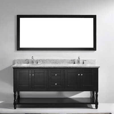 Julianna 73 Double Bathroom Vanity Set with White Marble Top and Mirror Base Finish: Espresso, Sink Shape: Square, Faucet Finish: No Faucet