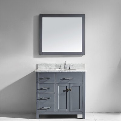 Caroline Parkway 36 Single Bathroom Vanity Set with Marble Top, Faucet and Mirror Faucet Finish: Polished Chrome, Sink Shape: Square