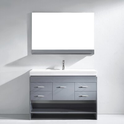 Carstens 47 Single Bathroom Vanity Set with Ceramic Top and Mirror Base Finish: Gray, Faucet Finish: Brushed Nickel