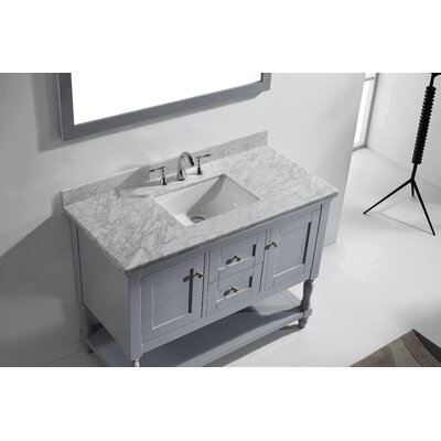 Julianna 49 Single Bathroom Vanity Set with White Marble Top and Mirror Base Finish: Gray, Sink Shape: Square, Faucet Finish: Brushed Nickel