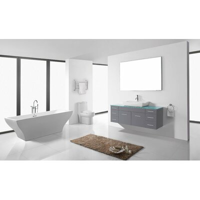 Biagio 56 Single Bathroom Vanity Set with Tempered Glass Top and Mirror Base Finish: Gray, Faucet Finish: Polished Chrome