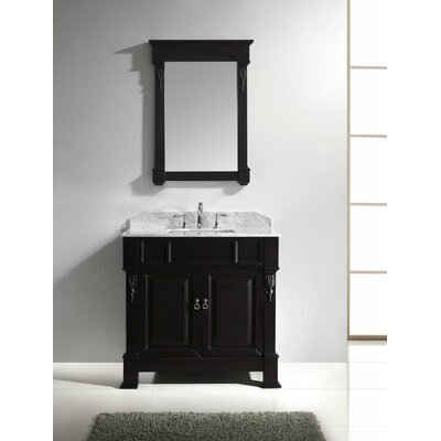 Huntshire 36 Single Bathroom Vanity Set with White Marble Top and Mirror Base Finish: Dark Walnut