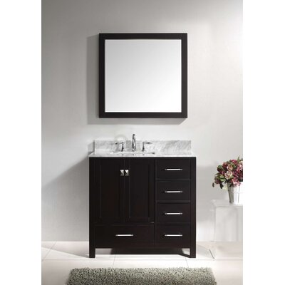 Caroline Avenue 37 Single Bathroom Vanity Set with Mirror Base Finish: Espresso