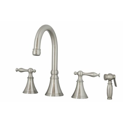 Poseidon Double Handle Widespread Kitchen Faucet with Side Spray