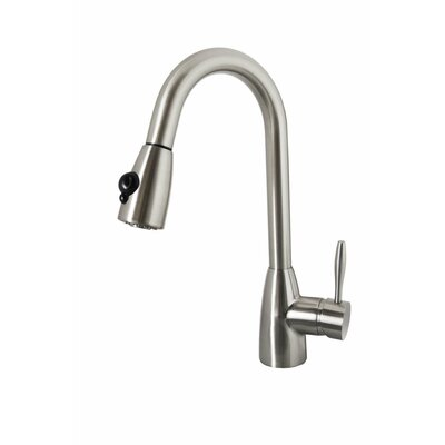 Neptune Single Handle Single Hole Kitchen Faucet with Pull-Down Spray Finish: Brushed Nickel