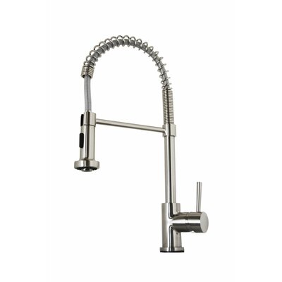 Triton Single Handle Single Hole Kitchen Faucet with Pull-Down Spray Finish: Brushed Nickel