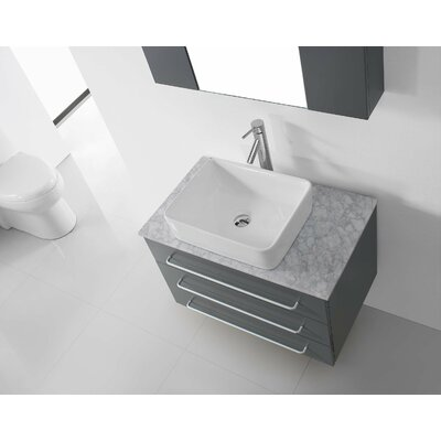 Ultra Modern Series 56 Double Bathroom Vanity Set with White Marble Top and Mirror Base Finish: Gray