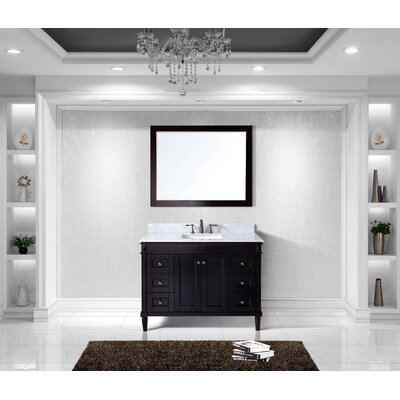 Tiffany 48 Single Bathroom Vanity Set with White Marble Top Base Finish: Espresso, Sink Shape: Square