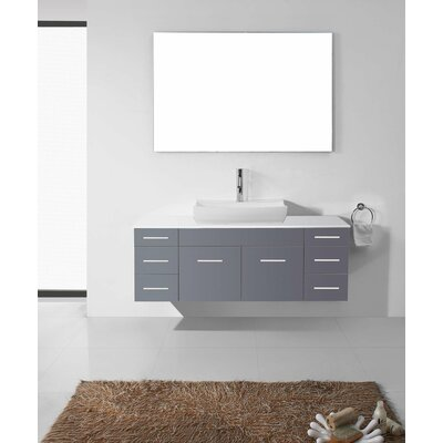 Ultra Modern Series 56 Single Bathroom Vanity Set with White Stone Top and Mirror Base Finish: Gray