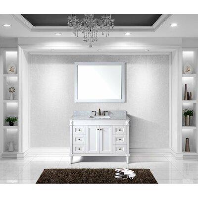 Tiffany 48 Single Bathroom Vanity Set with White Marble Top Base Finish: White, Sink Shape: Square