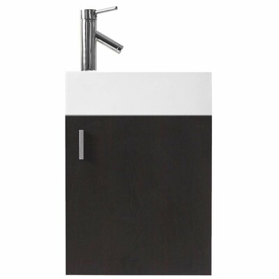 Carino 16 Single Bathroom Vanity Set with White Top Base Finish: Wenge, Faucet Finish: Brushed Nickel