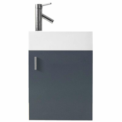 Carino 16 Single Bathroom Vanity Set with White Top Base Finish: Gray, Faucet Finish: No Faucet