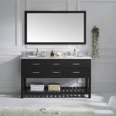 Caroline Estate 61 Double Bathroom Vanity Set with White Marble Top and Mirror Base Finish: Espresso, Sink Shape: Square