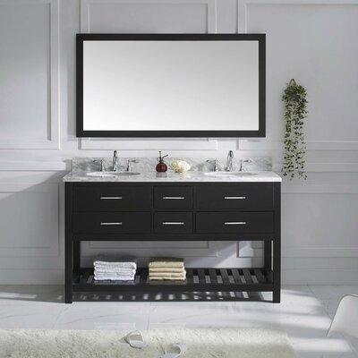Rishaan Modern 61 Double Bathroom Vanity Set with Mirror Base Finish: Espresso, Sink Shape: Square