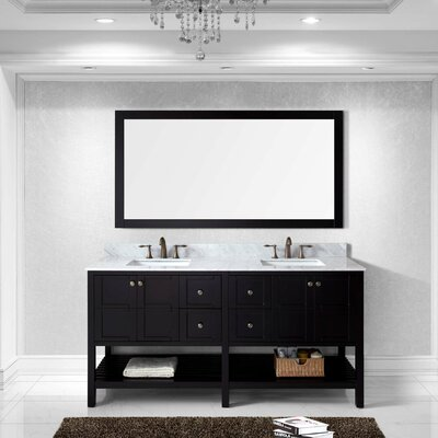 Bob 70.9 Double Bathroom Vanity Set with White Carrara Top and Mirror Base Finish: Espresso, Sink Shape: Square, Faucet Finish: Brushed Nickel