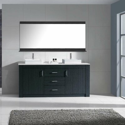 Glen Ridge 60 Double Bathroom Vanity Set with White Top and Mirror Base Finish: Zebra Gray